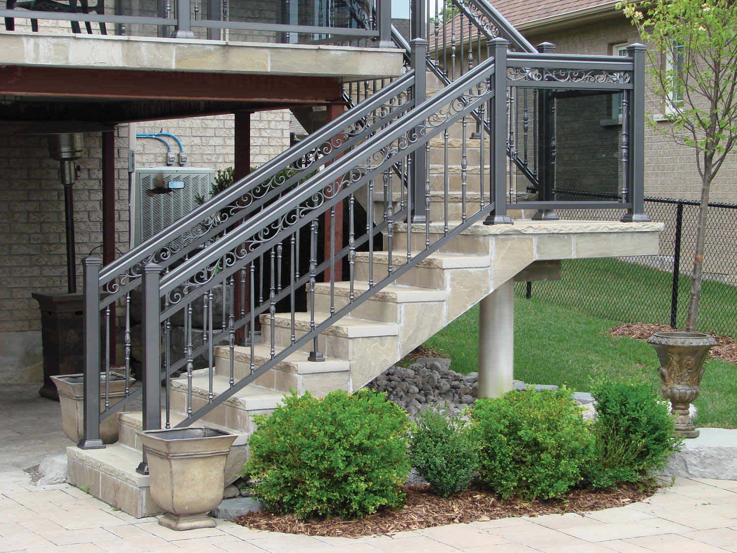 aluminum railings on staircase