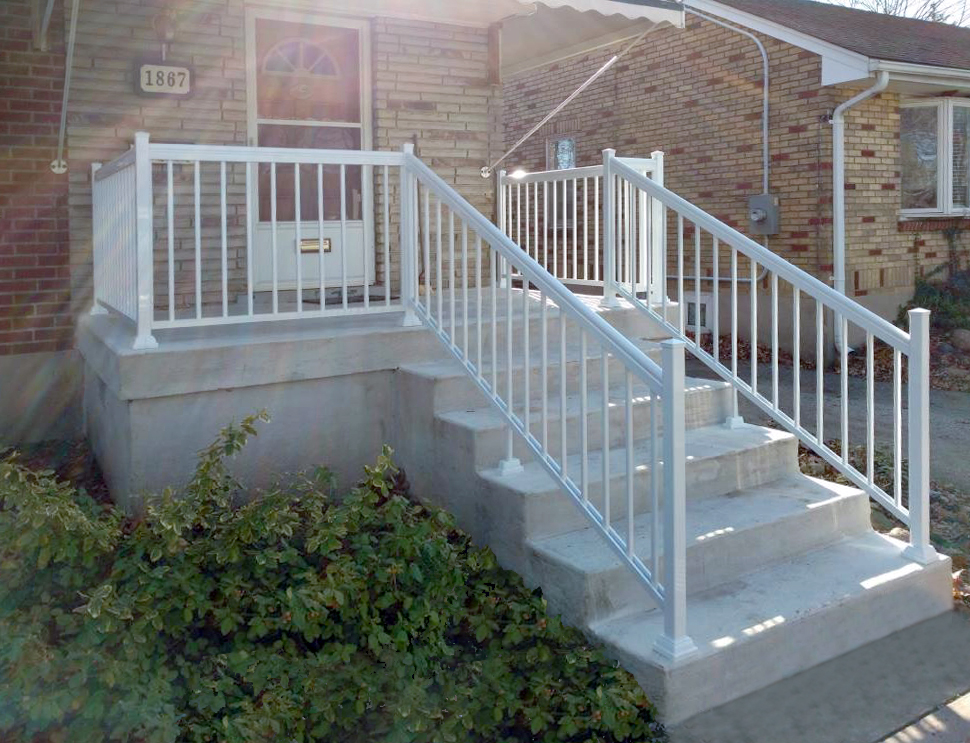 white aluminum railings on staircase