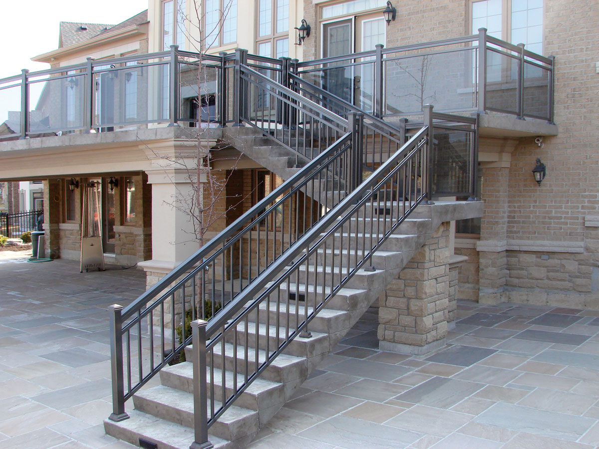 aluminum railings on indoor staircase