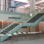 custom glass railings on staircase at western university