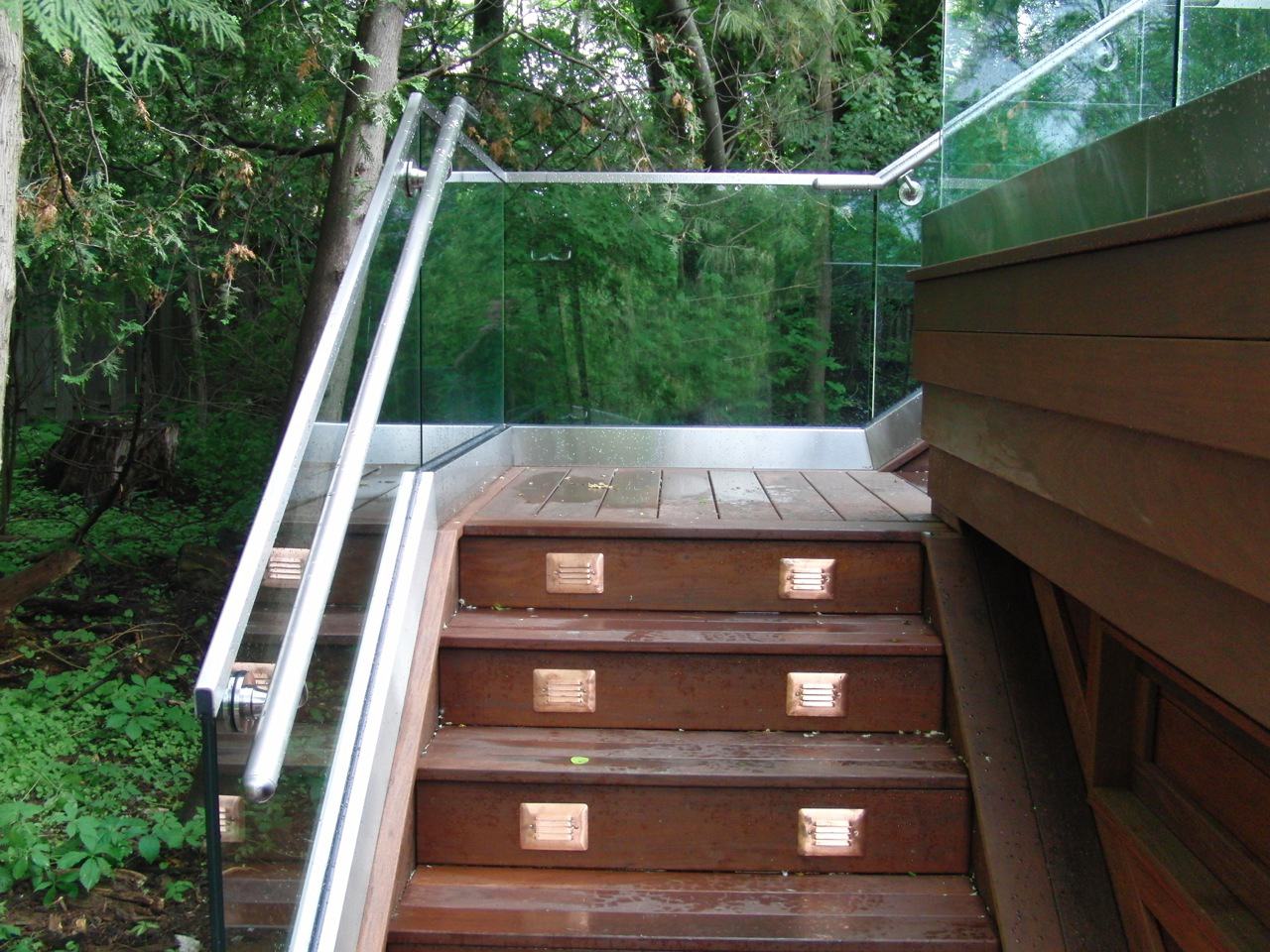 glass railings on cottage staircase