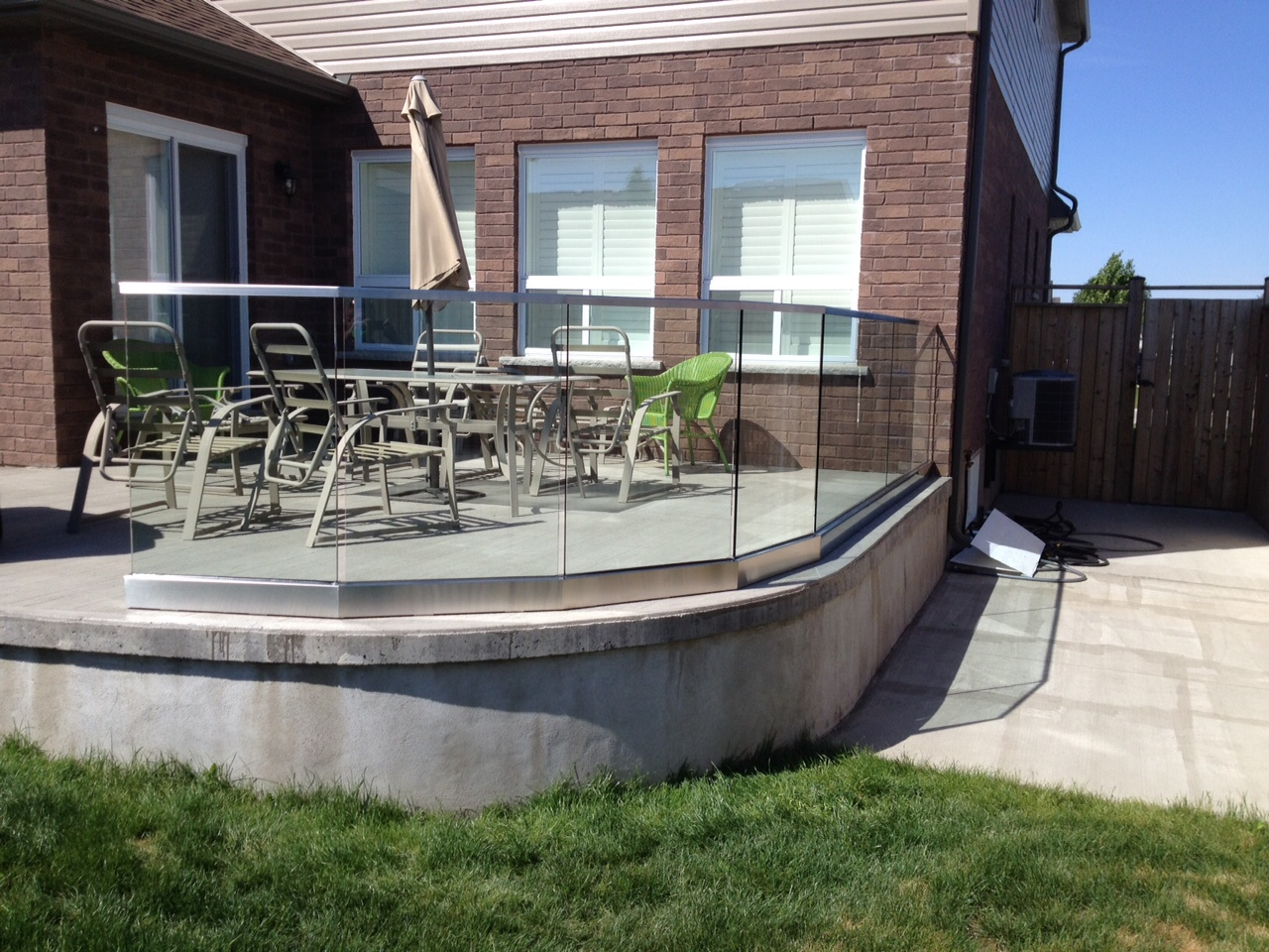 glass railings on porch