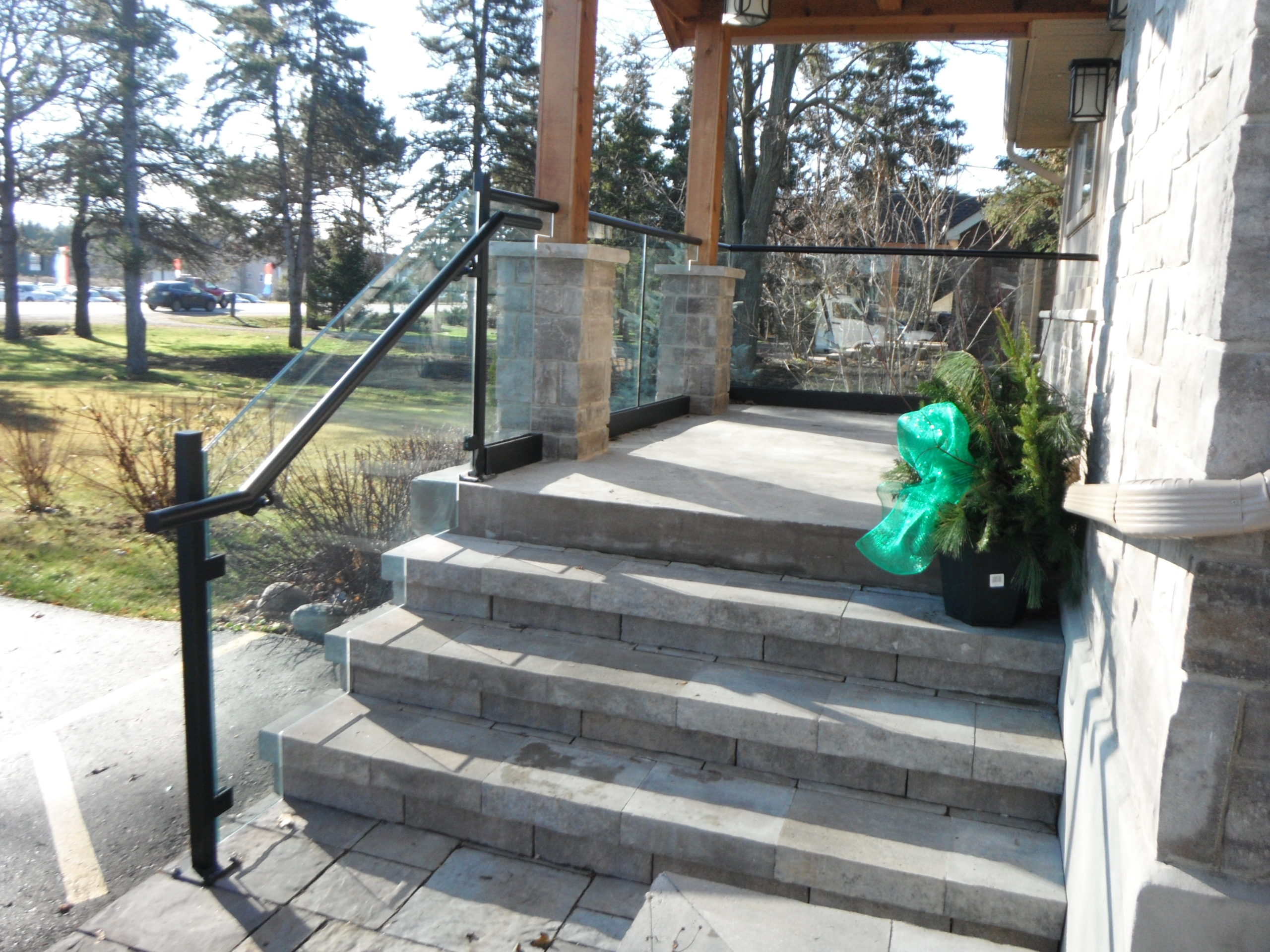 glass railings on staircase