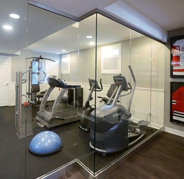 residential glass partition for indoor gym