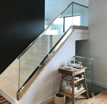residential glass railing on staircase