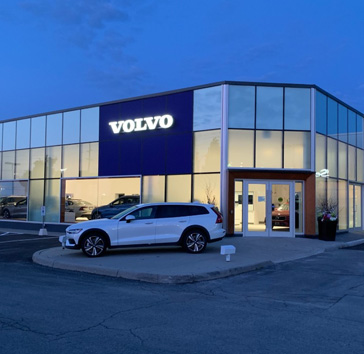 custom glass windows at volvo dealership kitchener